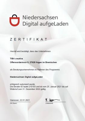 Zertifikat Niedersachsen Digital aufgeLaden